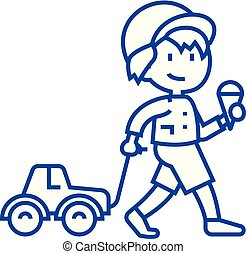 Child with ice cream and car toy on rope  line icon concept. Child with ice cream and car toy on rope  flat  vector symbol, sign, outline illustration.