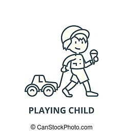 Child with ice cream and car toy on rope  line icon, vector. Child with ice cream and car toy on rope  outline sign, concept symbol, flat illustration