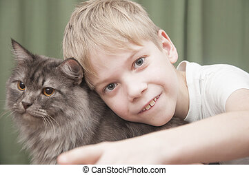 child with kitten