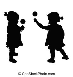 child with lollipop silhouette illustration