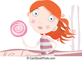 Child with lollipop - Small girl with sweet lollipop. Art...