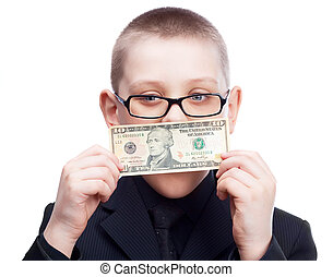 child with money - scared ten year old blond boy wearing a...