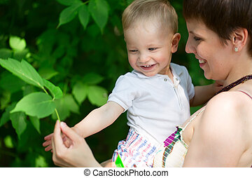 Child with mother outside