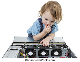 child with network computer