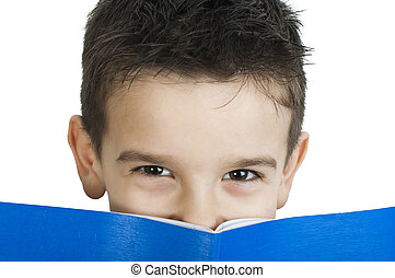 Child with notebook in front of the face