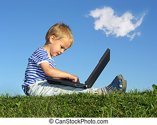child with notebook sit blue sky with cloud