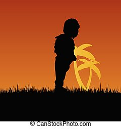 child with palm illustration in nature