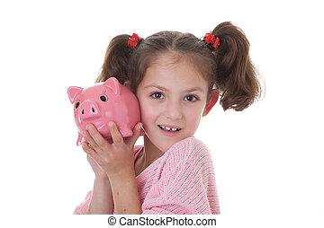 child with piggy bank money box