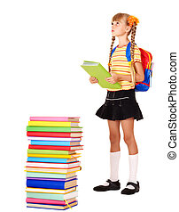 Child with pile of books.
