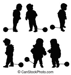 child with prision ball illustration