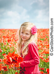 child with red flowers
