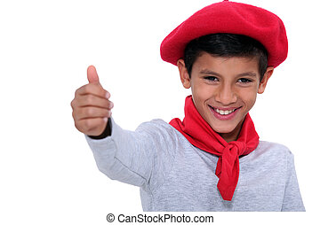 Child with red scarf and beret