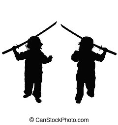 child with samurai sword set illustration