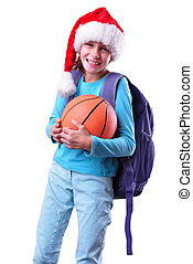 child with Santa Claus red hat and ball solated