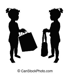 child with shopping bag silhouette set illustration