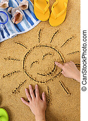 Child with smiley sun drawing
