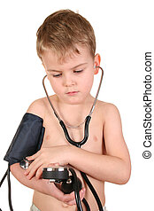 child with sphygmomanometer