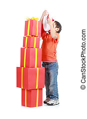 Child with stack gift box