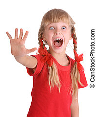Child with stop hand sign.