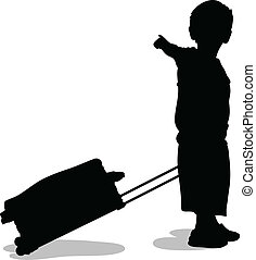 Child with Suitcase - A silhouette of a child pulling a...