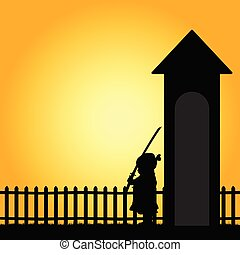 child with sword illustration in nature color silhouette
