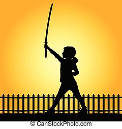 child with sword in nature illustration