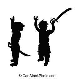 child with sword set silhouette illustration in black