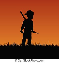child with swords in nature illustration