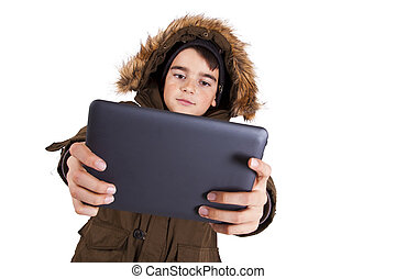 Child with tablet isolated on white background