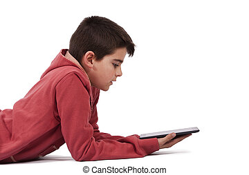 child with tablet isolated on white