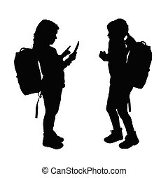 child with tablet silhouette illustration in black color