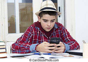child with the cellphone at school