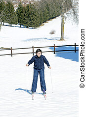 child with the cross-country skiing