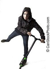 child with the scooter isolated on white background