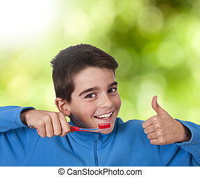 child with the toothbrush, oral hygiene