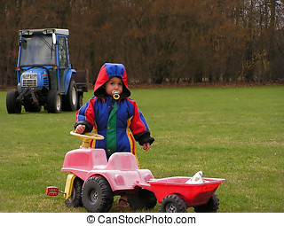 Child with tractors