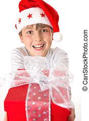 Child with xmas present
