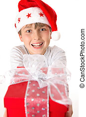 Child with xmas present