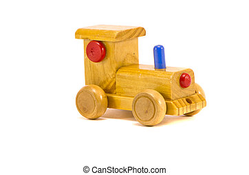 child wooden car toy isolated on white