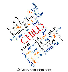 Child Word Cloud Concept Angled