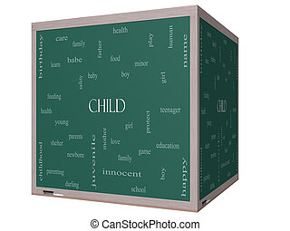 Child Word Cloud Concept on a 3D cube Blackboard