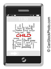 Child Word Cloud Concept on a Touchscreen Phone