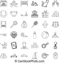 Childbearing icons set. Outline style of 36 childbearing vector icons for web isolated on white background