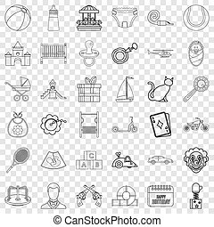 Childbearing icons set, outline style