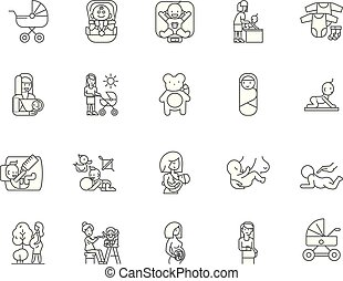 Childbirth line icons, signs, vector set, outline illustration concept