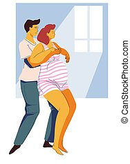 Childbirth preparing, contraction or giving birth pose, man and woman