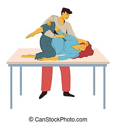 Childbirth preparing, woman with contractions on table and man helping