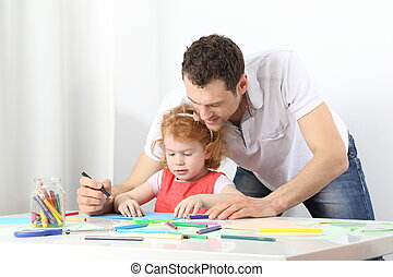 Childcare - A male educator or a vather doing painting...