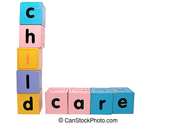 childcare in toy play block letters with clipping path on white