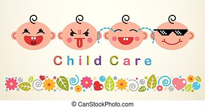 Childcare vector illustration with babies showing different emotions, vector flat style design.